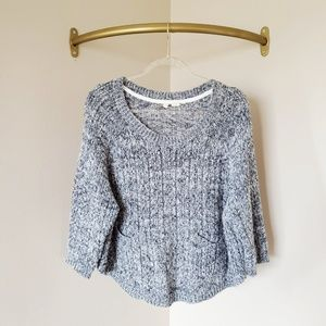 Anthropologie Moth Grey Pocket Crewneck Sweater L
